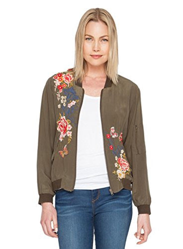3J Workshop By Johnny Was Army Green Lucy Bomber Jacket (Small)