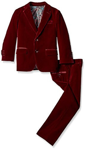Isaac Mizrahi Boys' Big Boys' 3 Piece Velvet Suit, Burgundy, 20