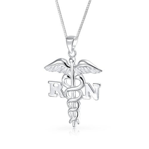 Bling Jewelry 925 Silver Registered Nurse Symbol Caduceus Pendant Necklace