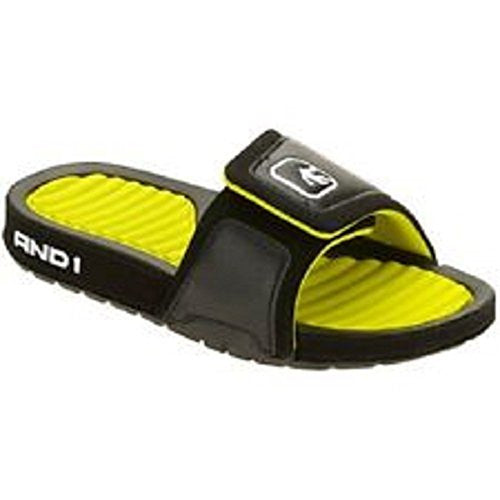 AND1 Youth Boys' Enigma Sandal, Black/Neon Green, 5/6