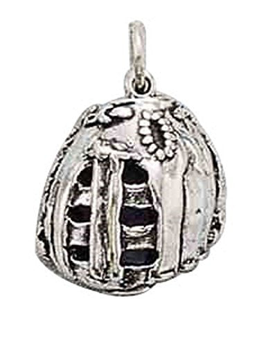 "Sterling Silver 16"" Boys 1.2mm Box Chain 3D Heavy Baseball Glove Sports Pendant Necklace"