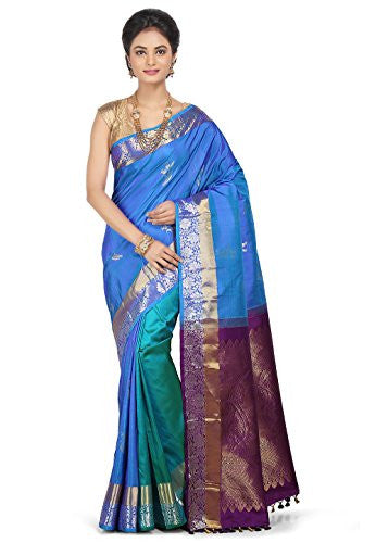 Pure Silk Kanchipuram Saree in Blue