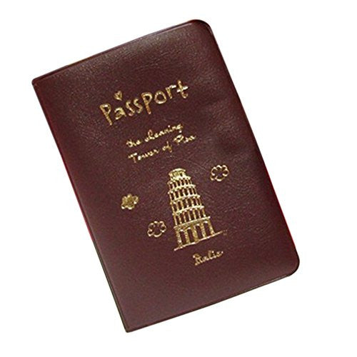 Gilroy Travel ID Card Holder PU Leather Passport Cover Case Protector (Coffee)