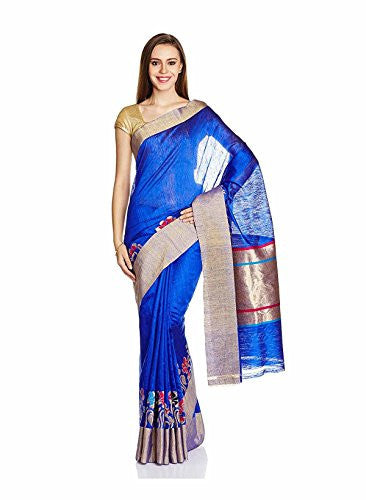 IndusDiva Women's Dark Blue Pure Silk Banaras Pure Silk Handloom Saree