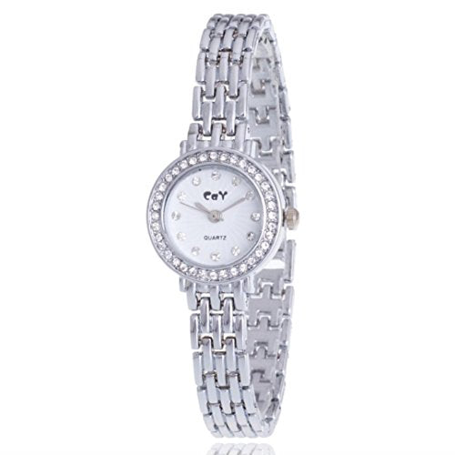 WILLTOO Women's Rhinestone Golden Stainless Steel Wrist Watch Silver