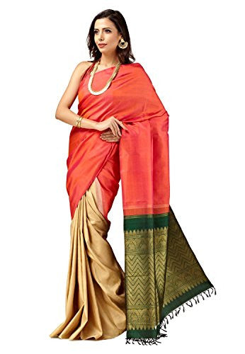 SakhiFashions Womens Pure Kanchivaram Silk Saree Free Size Pink,Multi