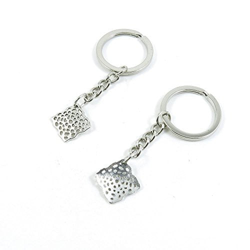 1 Pieces Keychain Door Car Key Chain Tags Keyring Ring Chain Keychain Supplies Antique Silver Tone Wholesale Bulk Lots F3CH1 Leopard Square