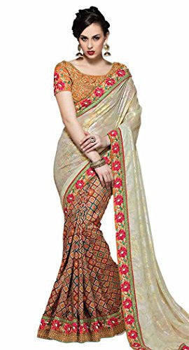 INMONARCH Womens Fancy Georgette and Fancy Silk Multicolor Bridal Saree SSR4021 unstitched