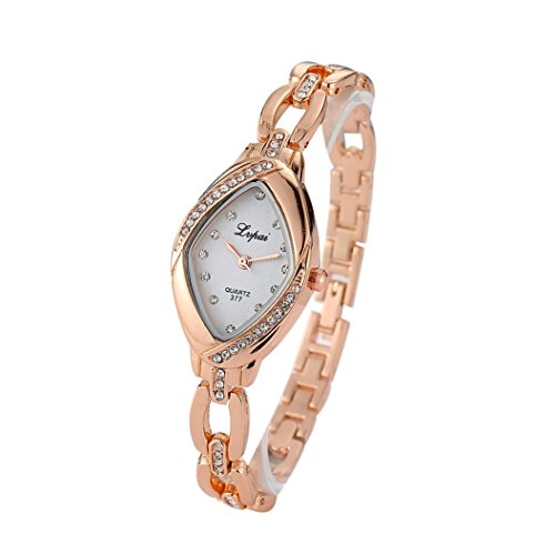 Alonea Fashion Ladies Women Unisex Stainless Steel Rhinestone Quartz Wrist Watch (D)