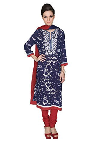 Ritu Kumar Women's Printed Georgette Churidar Kameez XL Navy