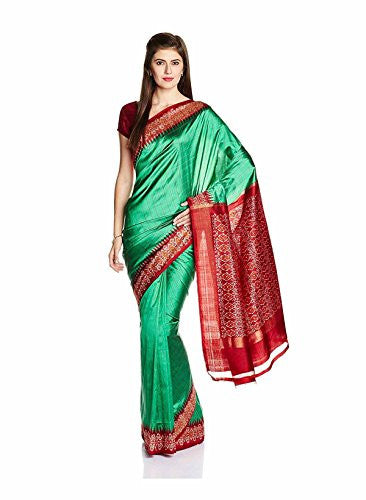 IndusDiva Women's Green Pure Silk Pochampally Pure Silk Handloom Saree