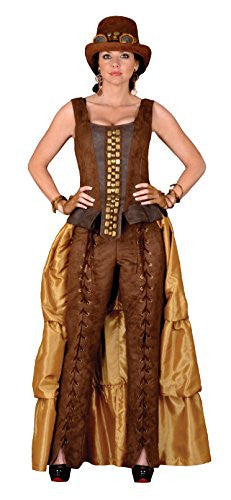 Deluxe Steampunk Siren Costume- Theatrical Quality (Medium, T1312 Brown & Gold)