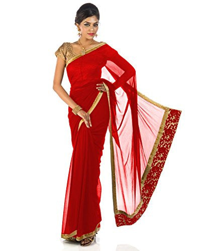 Rajarams PLAIN RED COLORED PURE CHIFFON SAREE WITH GOLDEN BORDER