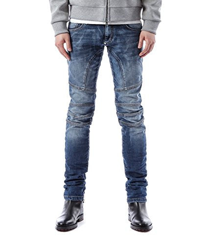 Wiberlux Philipp Plein Men's So Biker Metal Logo Detail Paneled Jeans 33 Dark Blue