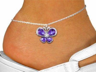 Clear & Purple Crystal Butterfly Charm And Anklet