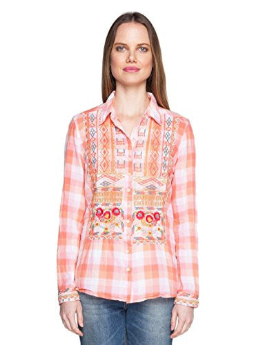 3J Workshop by Johnny Was Plaid George Button Back Shirt (Small)