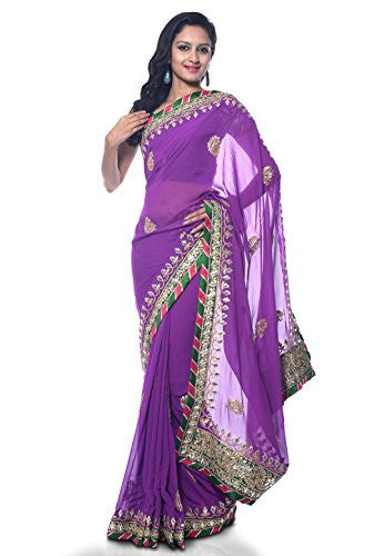 Utsav Fashion Light Purple Faux Georgette Saree With Blouse