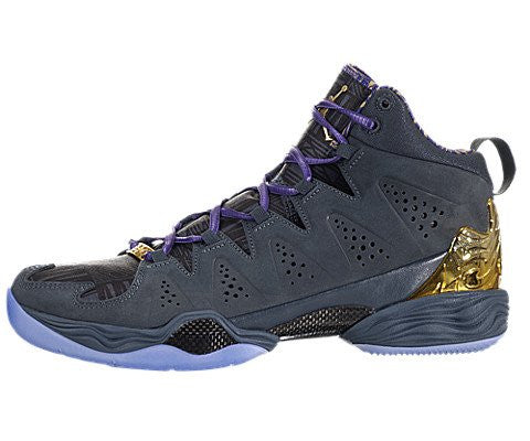 Nike Mens Jordan Melo M10 BMH Basketball Shoes Magnet Grey/Purple/Gold 647568-005 Size 9.5