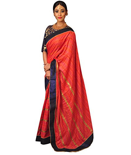 Indian Ethnic Tussar Silk Red Designer Saree