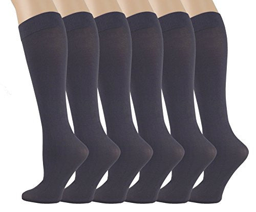6 Pairs Pack Women Stretchy Spandex Trouser Socks Opaque Knee High (Dark Grey)