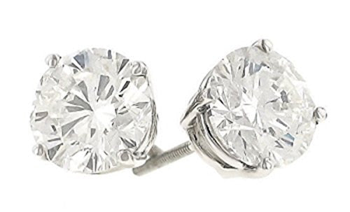 4.07 Carats Total Weight Round Diamond Stud Earrings