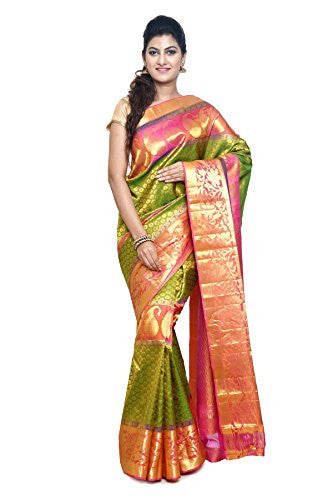 SUDARSHAN PURE SILK KANCHIPURAM SAREE-Green-MKJ48-MM-Pure Silk