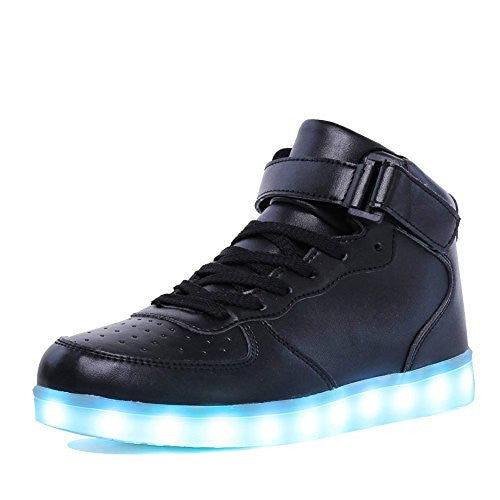 Kids 11 Colors LED Light Up Shoes High Top Fashion Flashing Sneakers