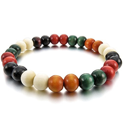 INBLUE Women's 8mm Wood Bracelet Link Wrist Tibetan Buddhist Colorful Multicolor Prayer Buddha Mala Sandalwood Bead Elastic