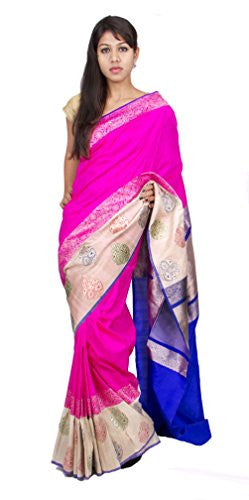 Rajarams Handloom Tussar Silk Designer Pink Saree With Blouse