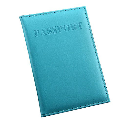 Baost Travel Utility PU Leather Simple Passport ID Card Cover Holder Case - Sky Blue