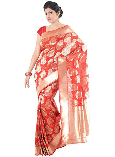 IndusDiva Women's Vermillion Pure Silk Saree