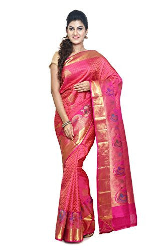 SUDARSHAN PURE SILK KANCHIPURAM SAREE-Pink-KS16-MM-Pure Silk
