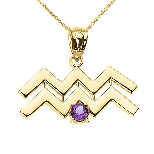Personalized 10k Yellow Gold Genuine Amethyst February Birthstone Aquarius Zodiac Pendant Necklace, 20""