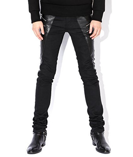 Saint Laurent Men's Leather Panel Zipper Detailed Skinny Jeans 30 Black