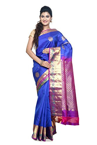 SUDARSHAN PURE SILK KANCHIPURAM SAREE-Dark Blue-KS18-MM-Pure Silk