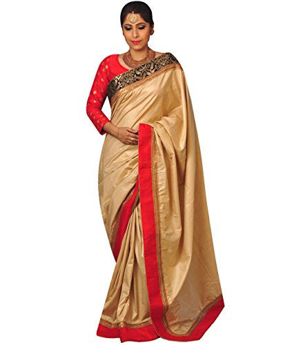 Indian Ethnic Tussar Cotton Beige Designer Saree