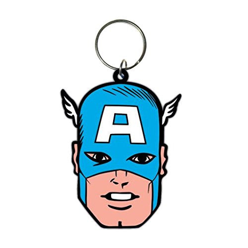 Marvel Captain America Face Rubber Keychain