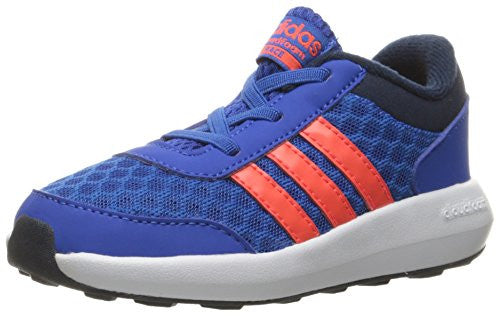 adidas NEO Boys' Cloudfoam Race Inf Sneaker, Blue/Infrared/Collegiate Navy, 3 M US Infant