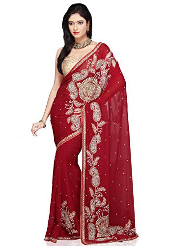 Utsav Fashion Dark Red Pure Georgette Saree with Blouse