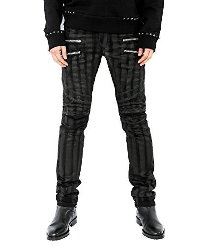 Wiberlux Balmain Men's Striped Zipper Pocket Jeans 30 Black