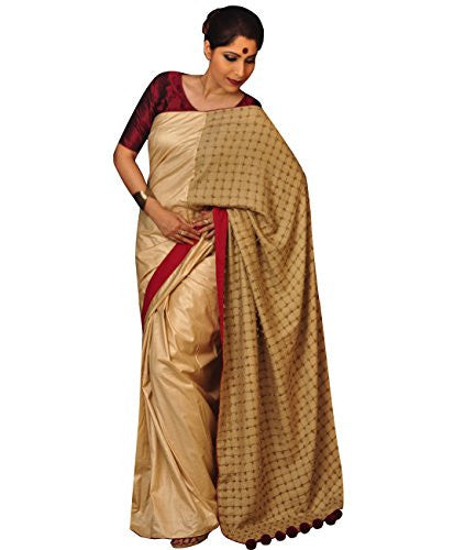 Indian Ethnic Tussar and Cotton Tussar Beige Designer Saree