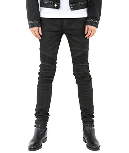 Wiberlux Balmain Men's Paneled Coated Slim Fit Jeans 31 Black