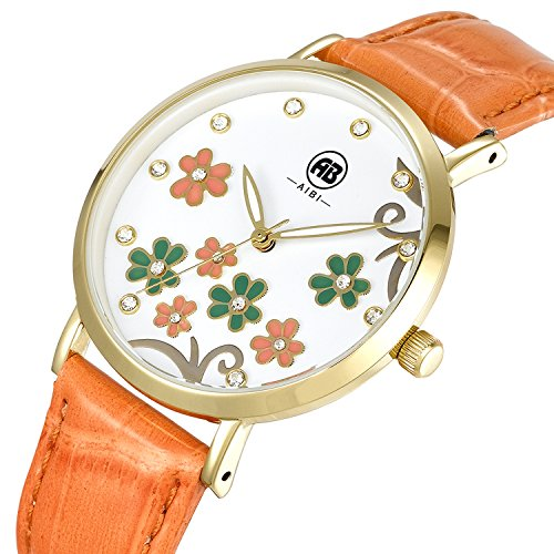 AIBI Women's Watch Quartz Orange Leather Strap Waterproof Watches For Lady,36mm Flowers Crystal Case