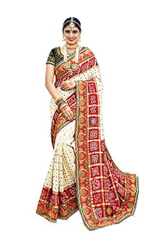 FourCorners2013 Fine-looking Printed Pallu Saree in White Color 77652