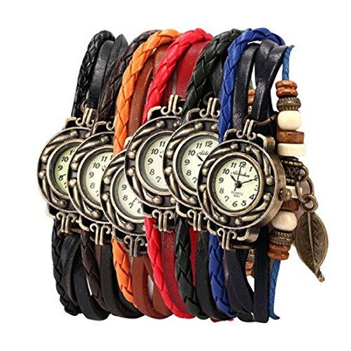 WILLTOO 6PC Womens Bracelet Weave Wrap Quartz Leather Leaf Beads Wrist Watches