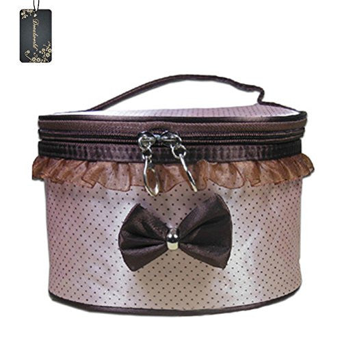 Donalworld Women Summer Bowknot Toiletry Case Cosmetic Makeup Bag PVC Packing Organizer Beige