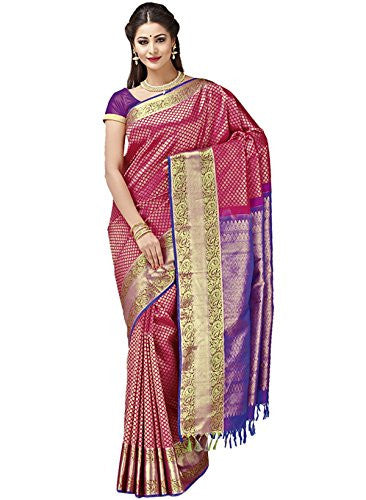 IndusDiva Women's Red Pure Silk Saree