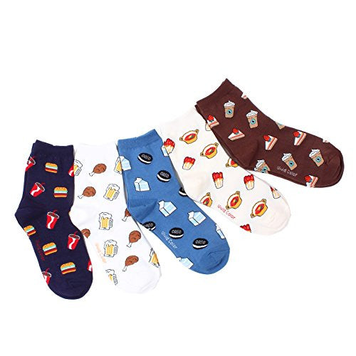 Intype Women's Cotton Im Still Hungry Funny Food Printing Socks 5Pairs 1Pack US 5.5 - 9 Multi Color