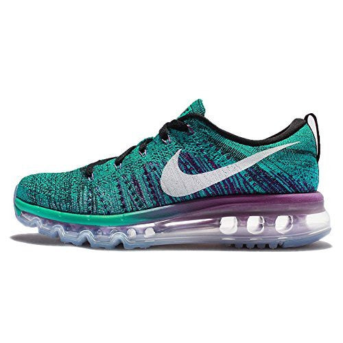 Nike Womens Wmns Flyknit Max, BLACK/WHITE-CLEAR JADE-HYPER VOLT, 6 US