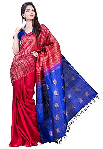 SakhiFashions Womens Kanchivaram Silk Saree Free Size Multi, Blue, Red
